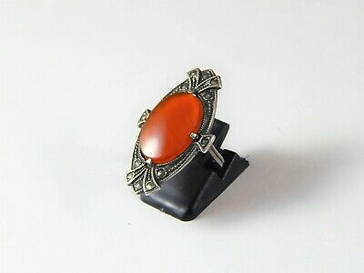 Antique or Vintage Silver Ring with Marcasites and Swirling Amber or Plastic