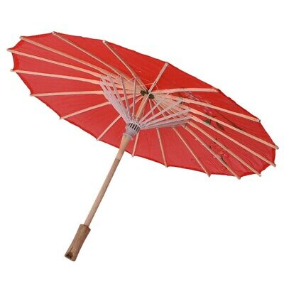 Hot Vintage Red Cloth Umbrella Bamboo Chinese Oriental Style Parasol Q8B9