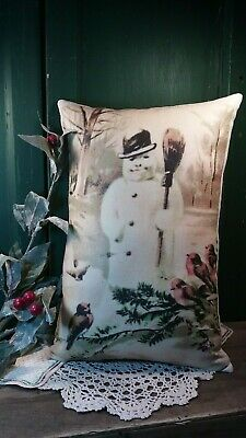 Primitive Vintage Victorian Cabin Farm Christmas Pillow Snowman Woods Birds Pc