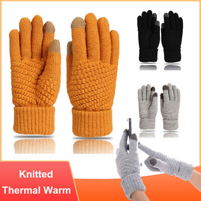 Touch Screen Winter Knitted Gloves Ladies Mens Kids For Smart Phone Tablet