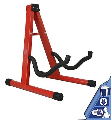Guitar Stand Red Folding Metal Electric Acoustic Free Standing A Frame Stand