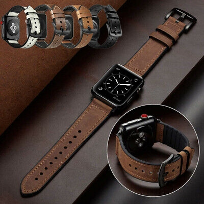 Genuine Leather Silicone Strap Band for Apple Watch Series 5 4 3 2 38/40/42/44mm