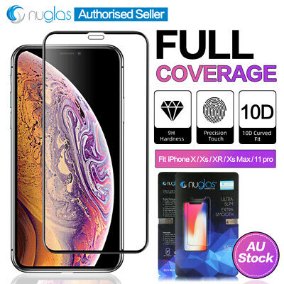 NUGLAS iPhone Xs XR 11 Pro Max 3D Full Coverage Tempered Glass Screen Protector