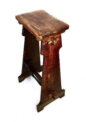 Victorian Arts & Crafts Oak Wooden Stool / Antique Kitchen Chair