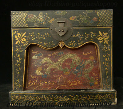 "14"" Antique Chinese Wood Lacquerware Dragon Storage Jewelry Chest Bin Box Statue"