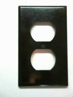 Leviton USA Outlet Duplex Plate Wall Cover Smooth Brown Bakelite 1 Vintage