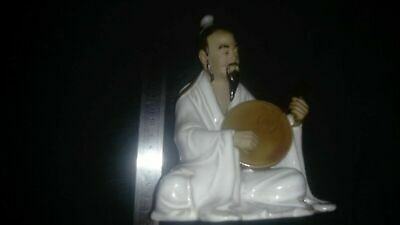 Vintage Chinese Shiwan mudman porcelain figurine of musician with lute, about 6