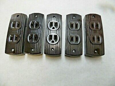 Vtg Leviton Bakelite 2 & 3 Wire Duplex Surface Mount Electrical Outlets Lot of 5