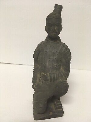 "Chinese Soldier Statue Black Terracotta Pottery Kneeling Warrior Emperor 7"" Clay"