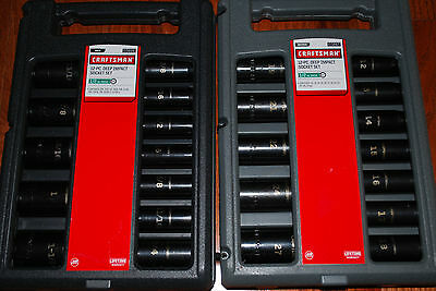 "Craftsman 24-PC 6-pt 1/2"" Drive Inch/Metric Deep Impact Socket Set# 15886+15887"