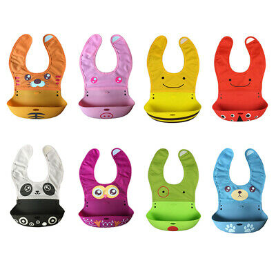 Baby Bibs Waterproof Silicone Feeding Animal Cartoon Aprons Roll Up Bibs