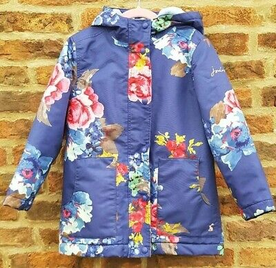 🌺🌈 JOULES Pretty Navy Blue Floral Fleece Lined Waterproof School Coat Jacket 7