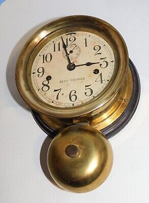 Seth Thomas Brass Maritime Ships Clock with external Bell