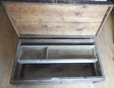 Antique Vintage Primitive Wooden Carpenter's Tool Chest Crafted With Insert Tray
