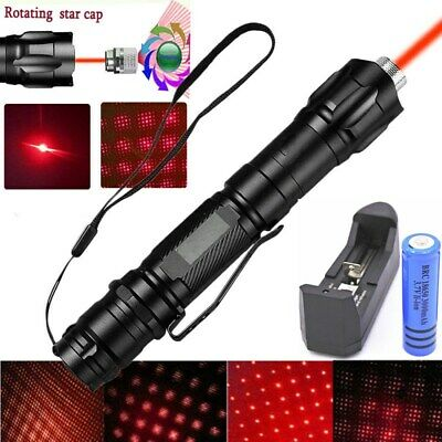 500Miles 650nm Visible Beam Light Red Laser Pointer Pen+Star Cap+Battery+Charger