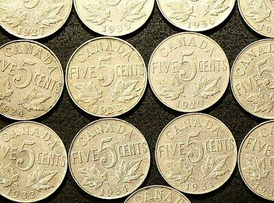 1922 to 1936 Canada 5 Cents Lot of 13 #5159