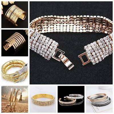 Vintage Women Fashion Metal Gold/Silver Plated Bangle Punk Cuff Bracelet Jewelry