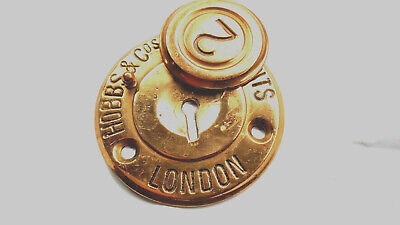 ANTIQUE BRASS HOBBS & Co's Patents  ESCUTCHEON KEY HOLE PLATE & COVER 8cm in dia