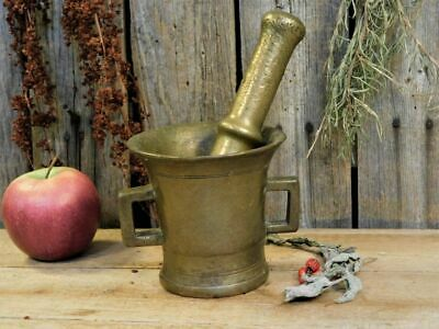 Antique Primitive Old Brass Mortar & Pestle AAFA Pantry Apothecary