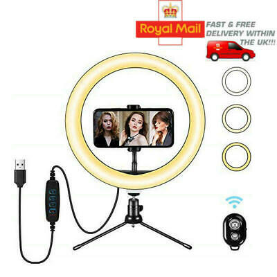 """10"""" LED Ring Light with Stand for Youtube Tiktok Makeup Video Live Phone Selfie"""