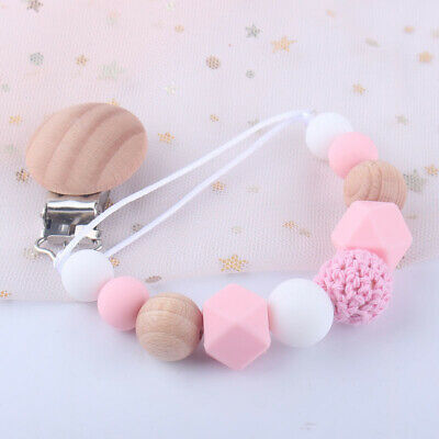 Baby Pacifier Clip Chain Dummy Pacifiers Leash Strap Beads Teether Toy SLUS