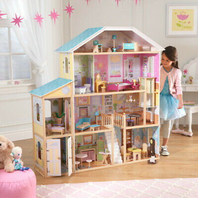 NEW KidKraft Majestic Mansion Wooden Dollhouse | Kids Dolls Playhouse | 34 piece
