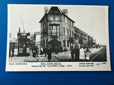 "SWANSEA: ""BAY VIEW HOTEL"" & TRAM, c1910 - NICE COLLECTORCARD POSTCARD!"