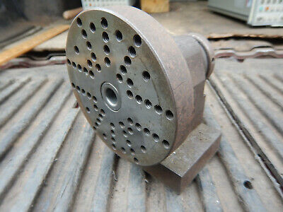 Older Small Spin Fixture With Faceplate W/ 1/4-20 Holes Machinist Jig Fixture