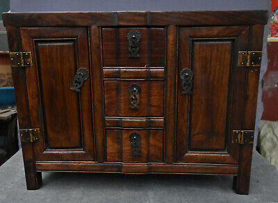 "18"" Old China Dynasty Huang Huali Wood Drawer Locker Cabinet Altar Table Statue"