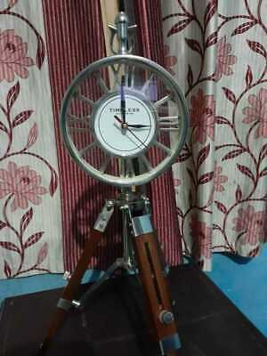 "Nautical 18"" Brass Table Top Clock With Wooden Tripod  Decor Table Top Clock"