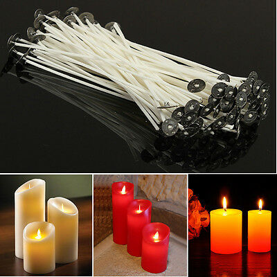 Pack 100 Pre Waxed Candle Wicks for Candle Making With Sustainers - 10cm
