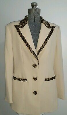 Vtg 80s Leopard Print Faux Fur Cream Black Brown Blazer Jacket Belldini 12 M L