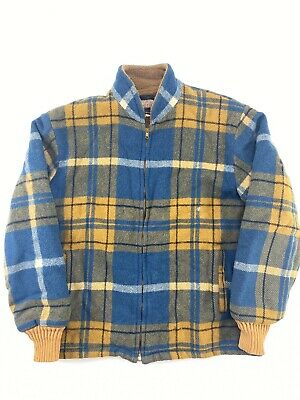 Vintage VTG 1960s Woolrich Yellow Blue Plaid Wool Full Zip Jacket Coat Mens Sm