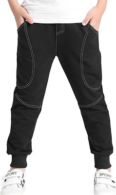 Reciy Boys Cotton Sweatpants Kids Casual Jogger Pants Tapered Ankle Pants Age