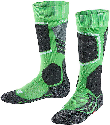 FALKE Kid's K KH SK2 Ski Socks-Merino Wool Blend, Green Vivid 7231, UK 12-2.5 1