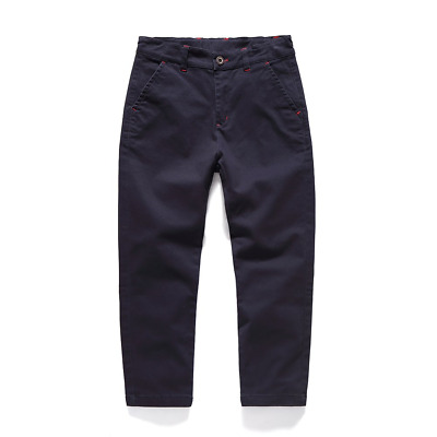 Boys Trousers Cotton Chino Pants Casual Solid Color School Uniform Fitted with