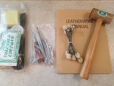 Lot of Vintage Tandy Leathercrafting Tools, Stamps, Garland Rawhide Mallet, Book