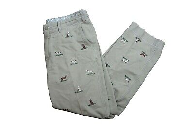 Polo Ralph Lauren Officers Light Trousers Khaki Chino Mens Embroidered Dogs 34/3