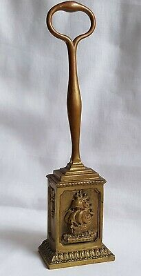 Antique Victorian Cast Brass Door Stop Porter Elizabethan Galleon Cast Iron Base