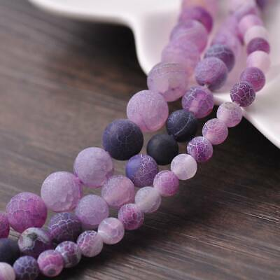 6/8/10mm Natural Round Purple Frosted Agate Stone Gemstone Loose Beads Lots DIY