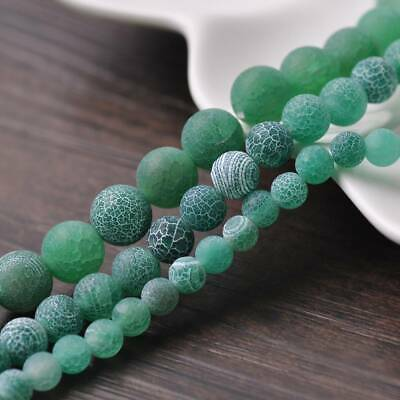 6/8/10mm Natural Round Green Frosted Agate Stone Gemstone Loose Beads Lots DIY