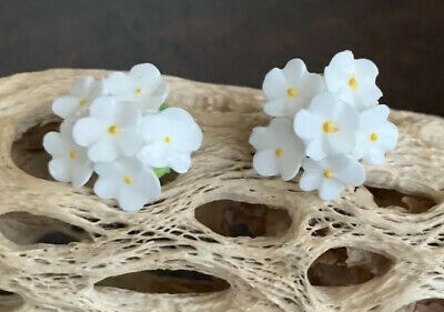 Vintage White Flowers Porcelain Clip On Earrings Made In England