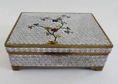 Antique Chinese Floral White Cloisonne Footed Box with Turquoise Blue Interior