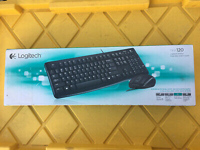 New Logitech MK120 Desktop Keyboard & Mouse - 1000 dpi - Scroll Wheel - wired