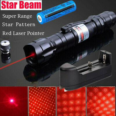 500Miles 650nm Red Laser Pointer Strong Star Beam Light Lazer+Star Cap+Battery