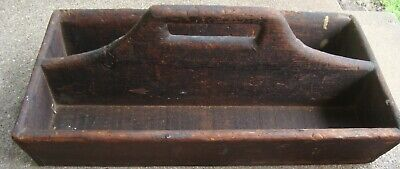 Antique Primitive Wood Caddy Divided Tote Tray I'D (inv151)