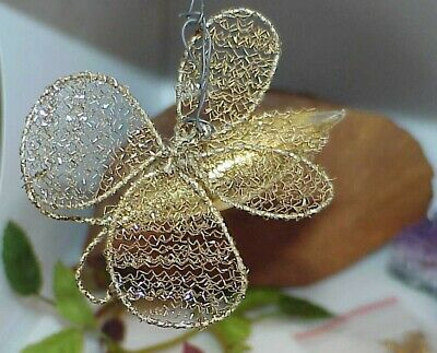 Vintage Wire Wrapped Mercury Glass Christmas Ornament BUTTERFLY Gold 1900's