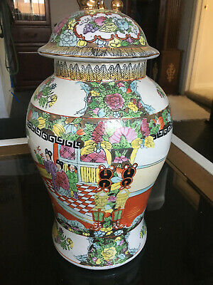 "Stunning Large 14"" Antique Chinese Famille Rose Medallion Vase"