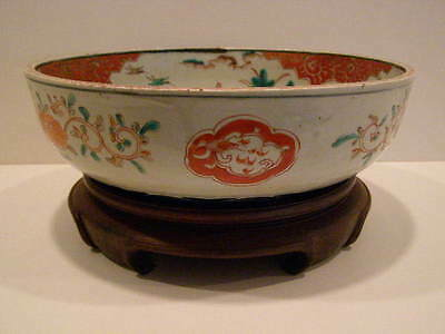 Antique 1850 A.d. Japanese Imari Bowl With Stand