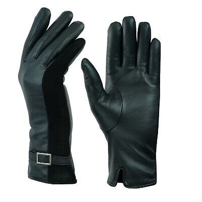 Soft Full Ladies Women Leather Thermal Fleece Lined Driving Buckle Gloves